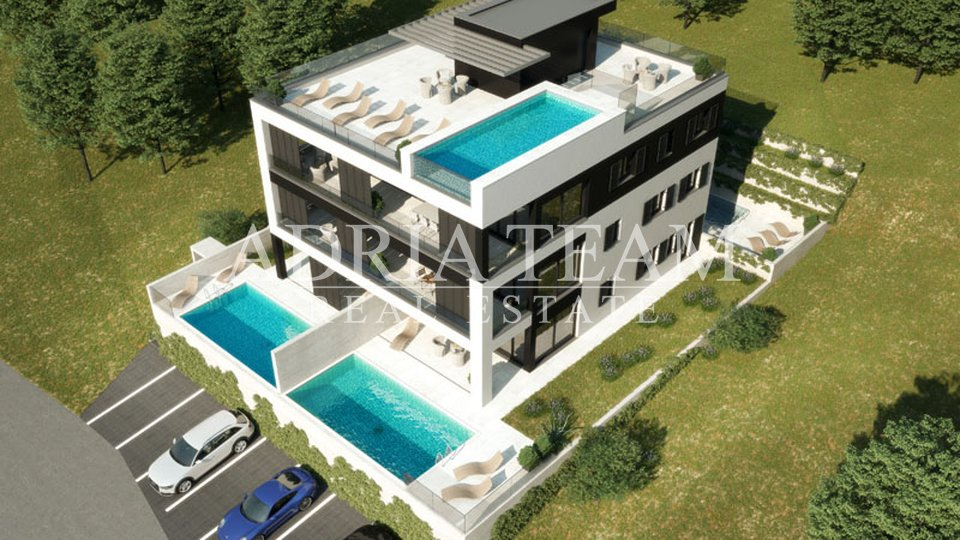 APARTMENTS IN NEW BUILDING WITH POOL AND GARDEN, VINJERAC